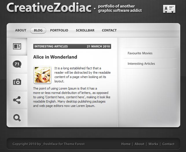 Wordpress Theme Creative Zodiac   Portfolio